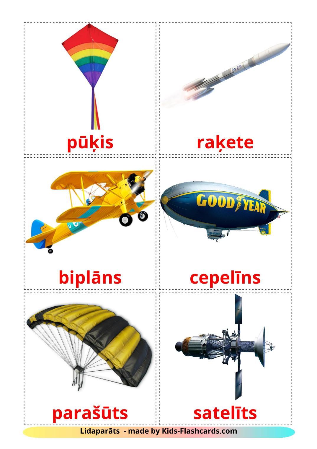 Aircraft - 14 Free Printable latvian Flashcards