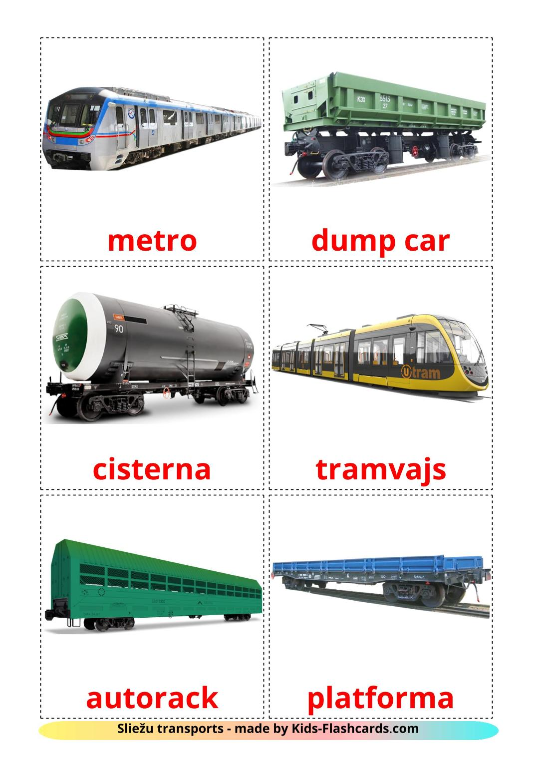 Rail transport - 18 Free Printable latvian Flashcards