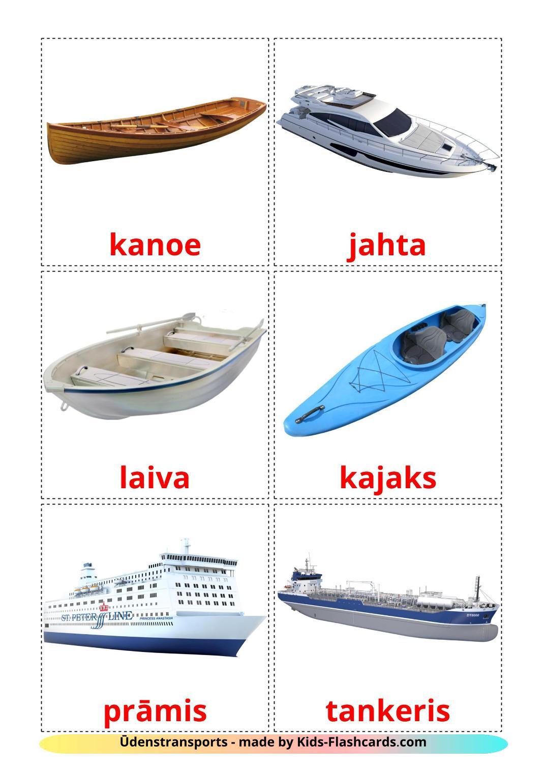 Water transport - 18 Free Printable latvian Flashcards