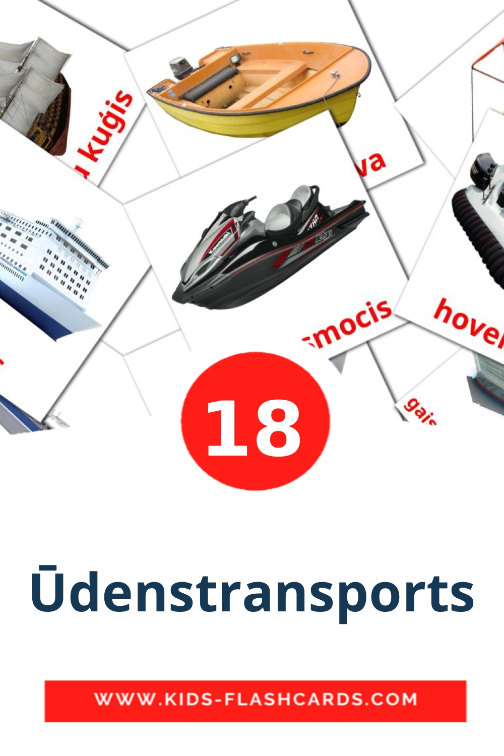 18 Ūdenstransports Picture Cards for Kindergarden in latvian
