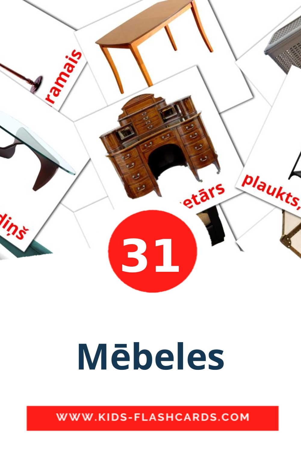 31 Mēbeles Picture Cards for Kindergarden in latvian