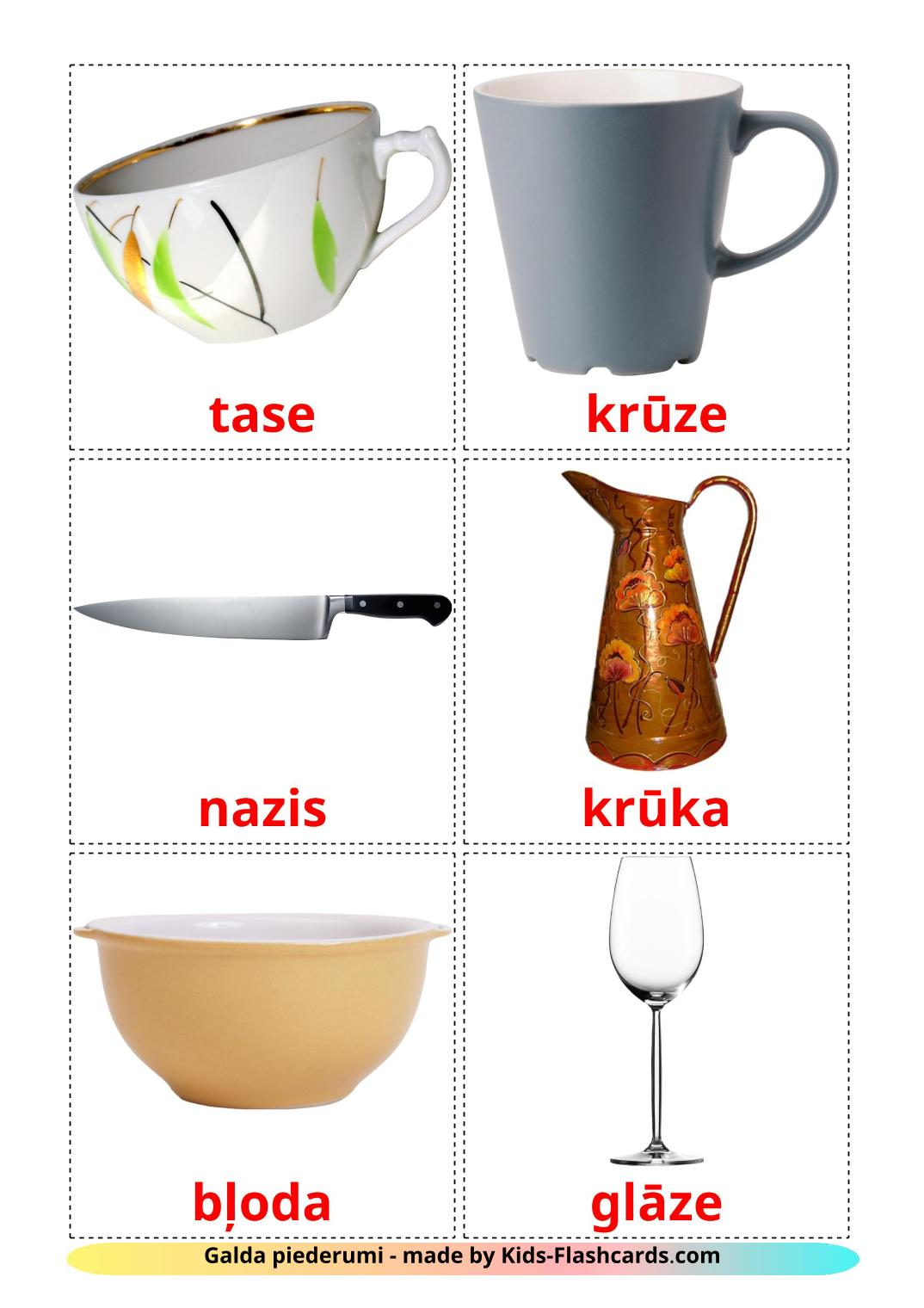 Crockery and cutlery - 29 Free Printable latvian Flashcards