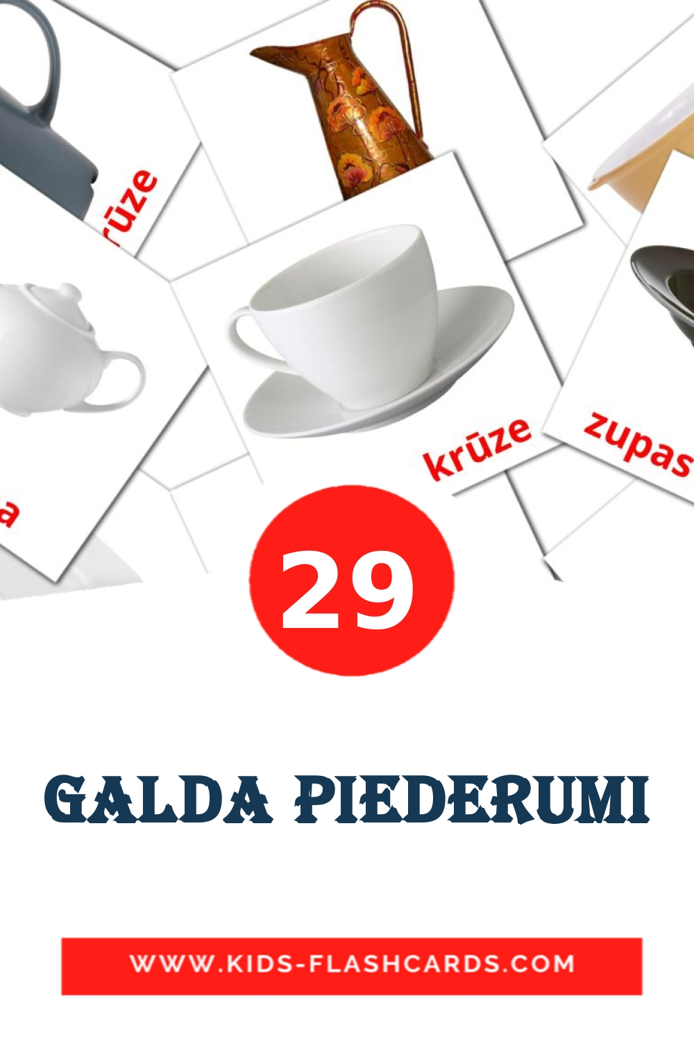 29 Galda piederumi Picture Cards for Kindergarden in latvian