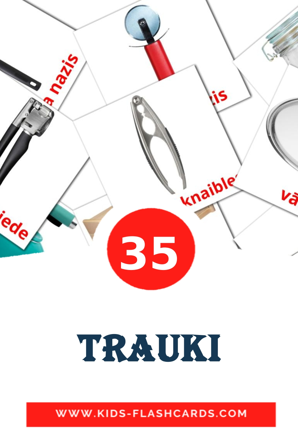 35 Trauki Picture Cards for Kindergarden in latvian