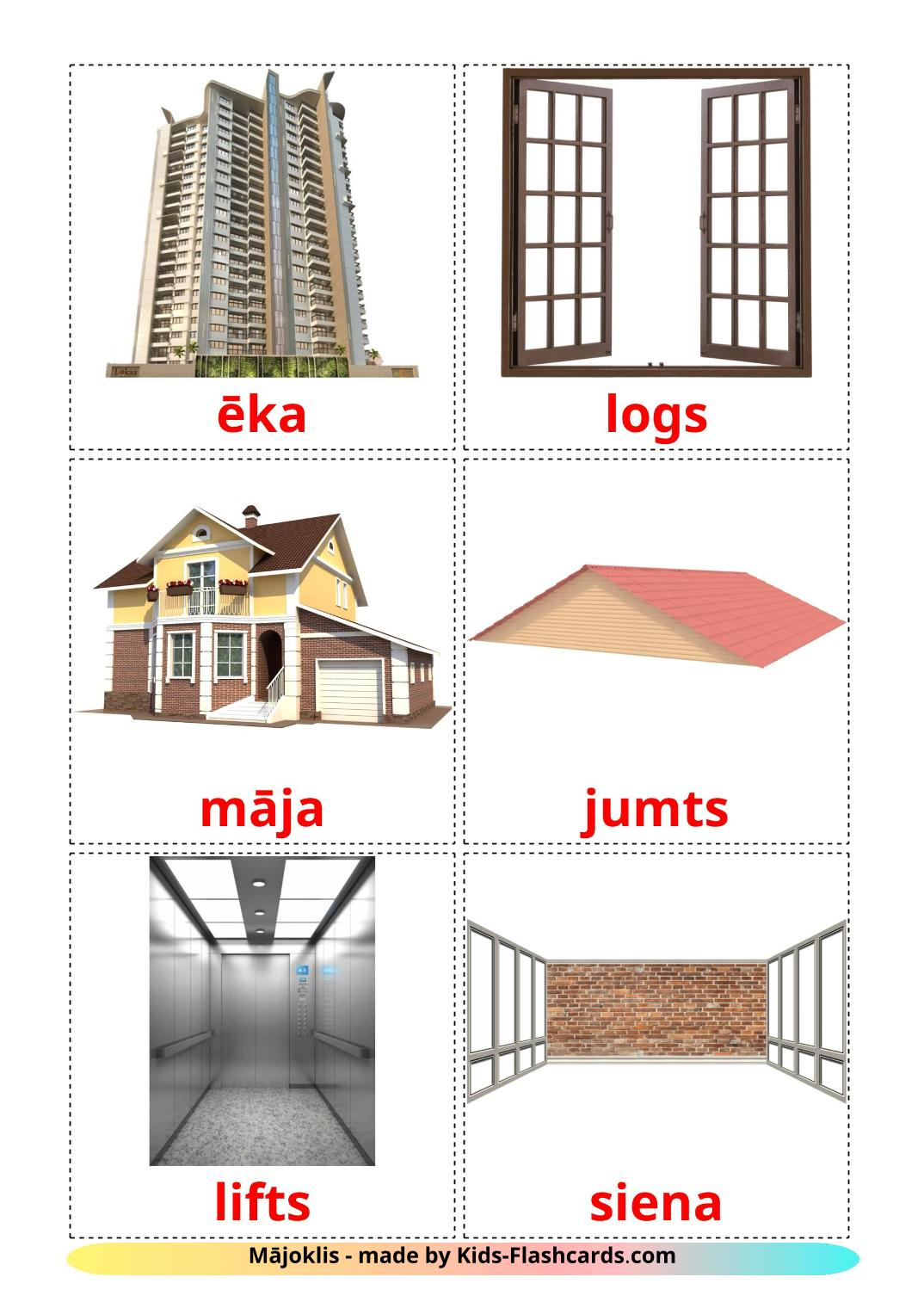 House - 25 Free Printable latvian Flashcards