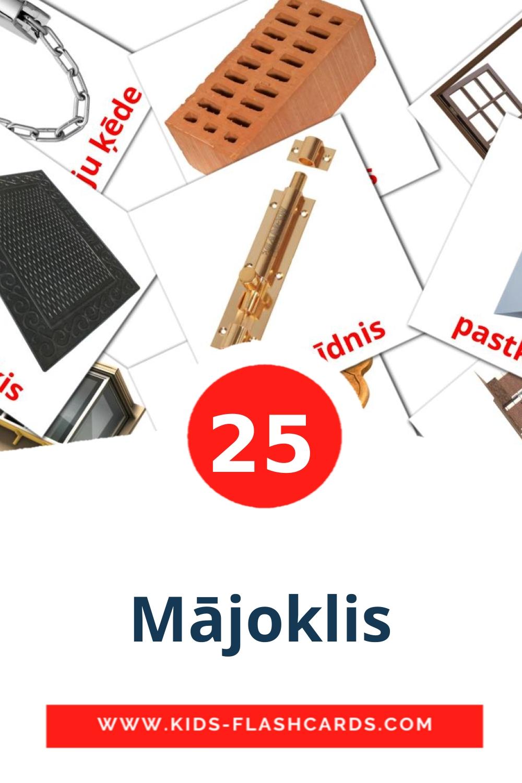25 Mājoklis Picture Cards for Kindergarden in latvian