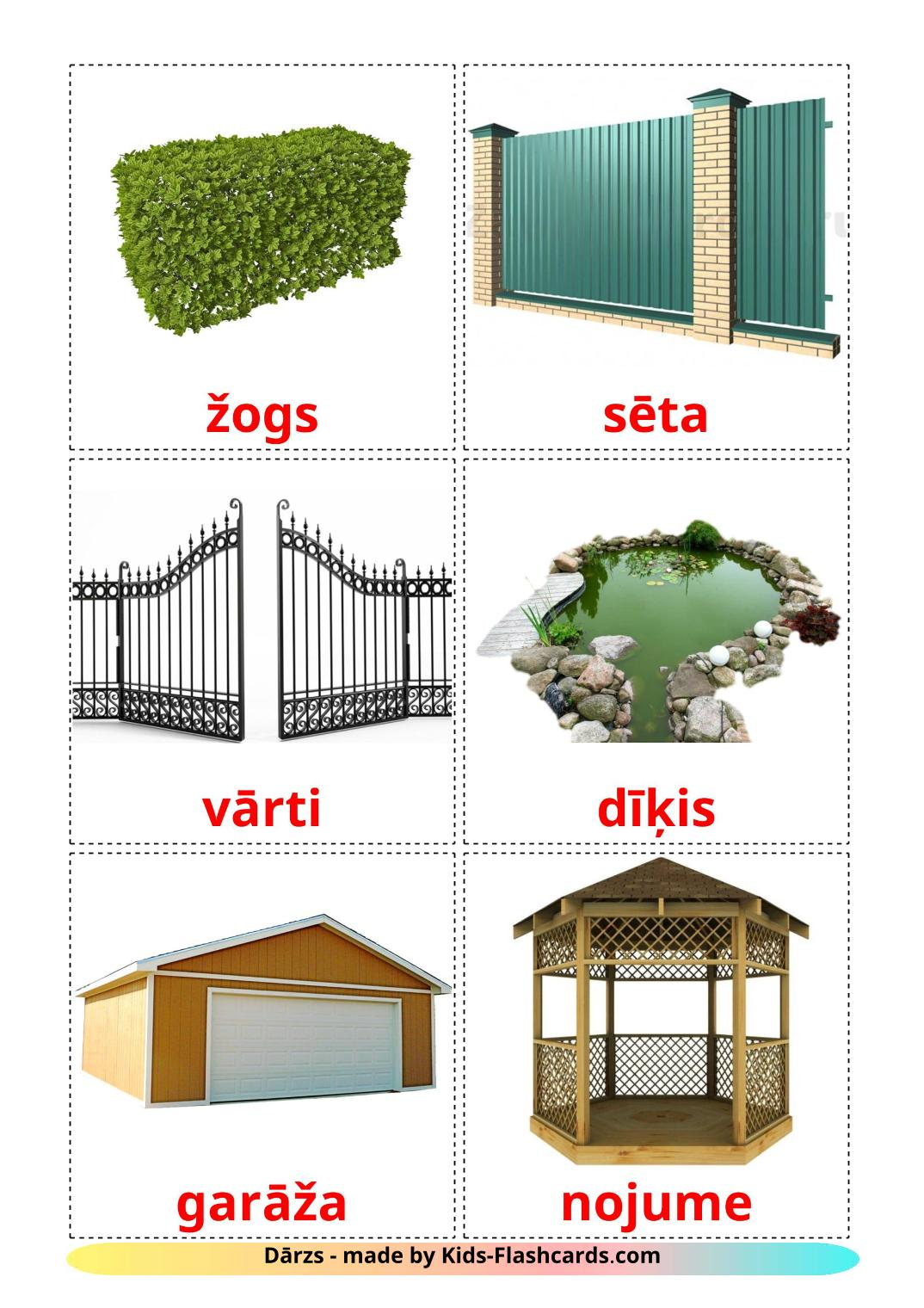 Garden - 18 Free Printable latvian Flashcards