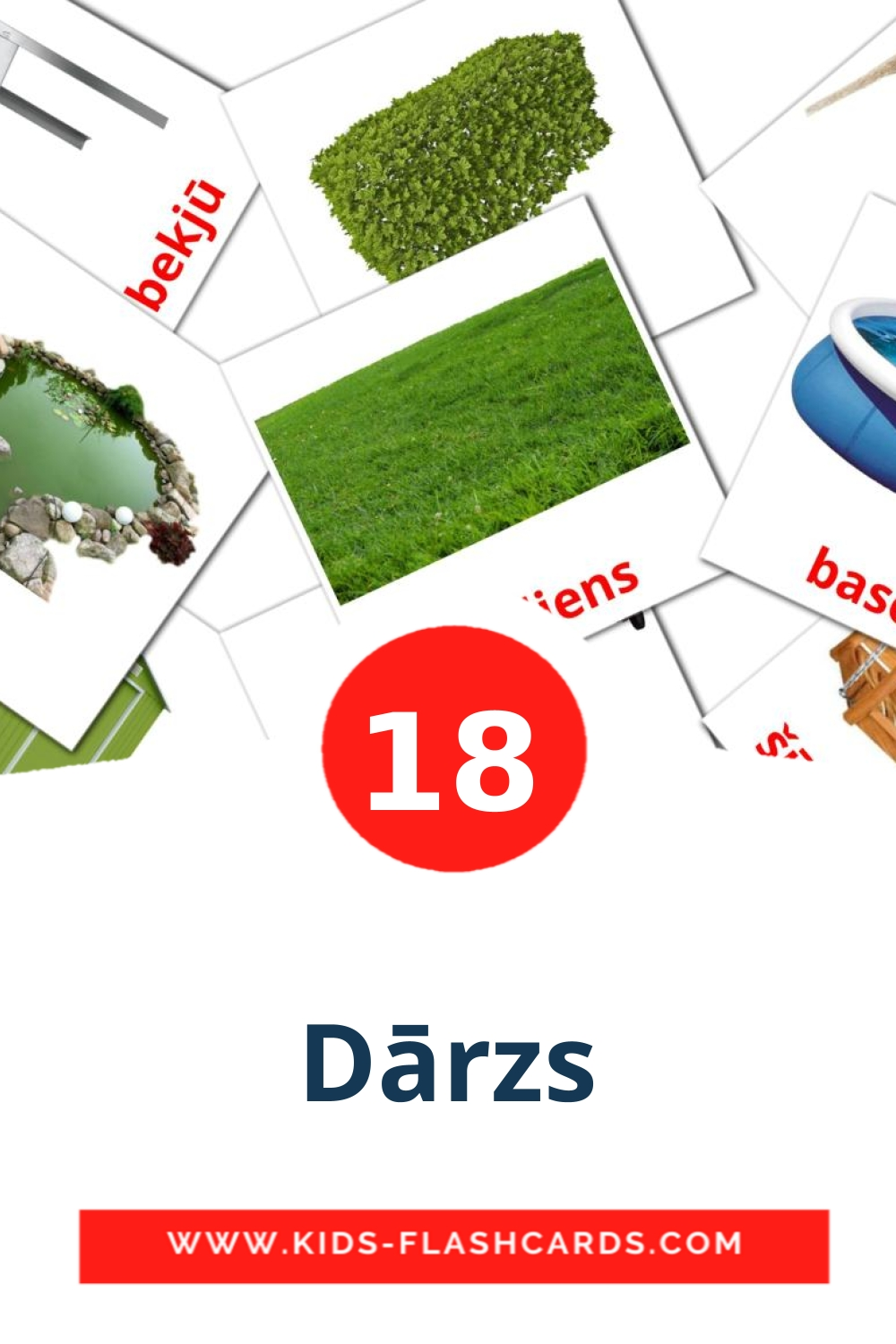 18 Dārzs Picture Cards for Kindergarden in latvian