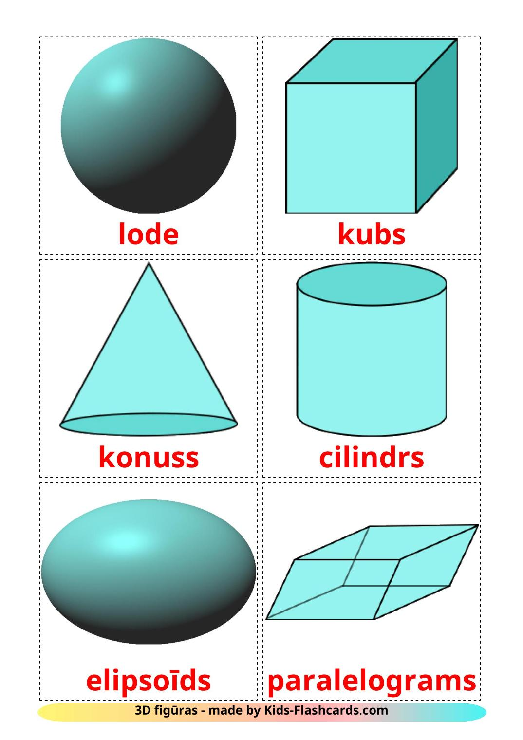 3D Shapes - 17 Free Printable latvian Flashcards