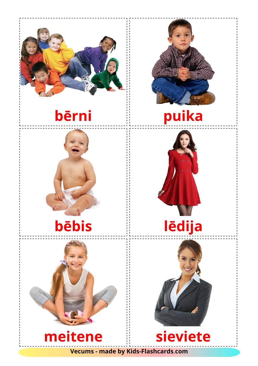Stages - 12 Free Printable latvian Flashcards