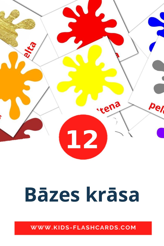 12 Bāzes krāsa Picture Cards for Kindergarden in latvian