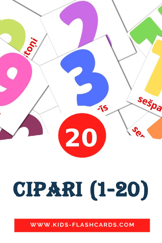 20 Cipari (1-20) Picture Cards for Kindergarden in latvian