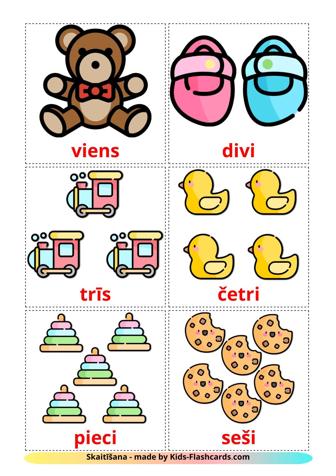 Counting - 10 Free Printable latvian Flashcards