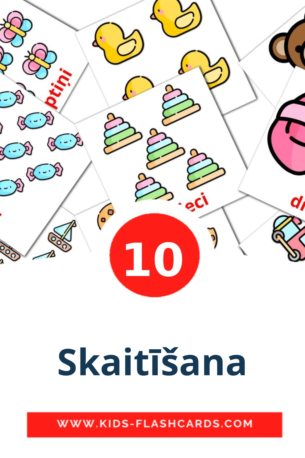 10 Skaitīšana Picture Cards for Kindergarden in latvian