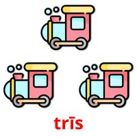 trīs picture flashcards