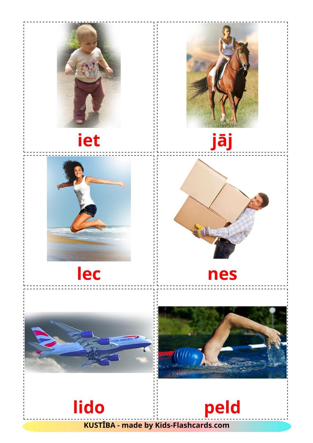 Глаголы движения - 22 Карточки Домана на латышском