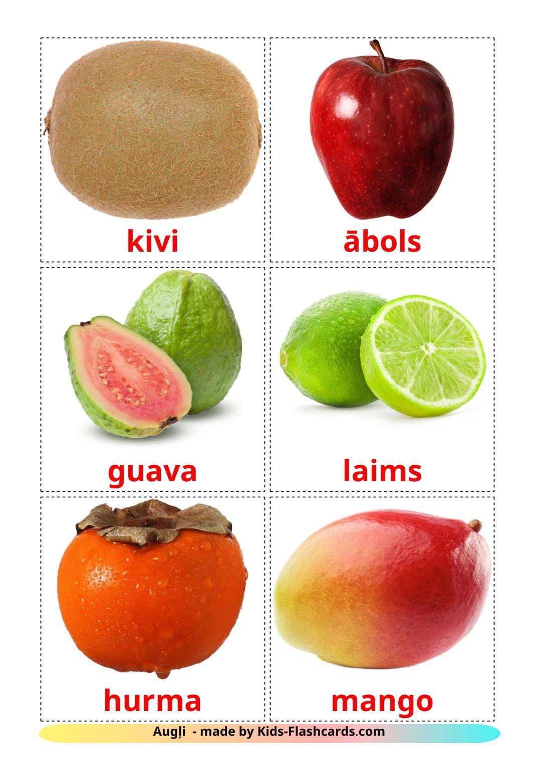 Fruits - 20 Free Printable latvian Flashcards