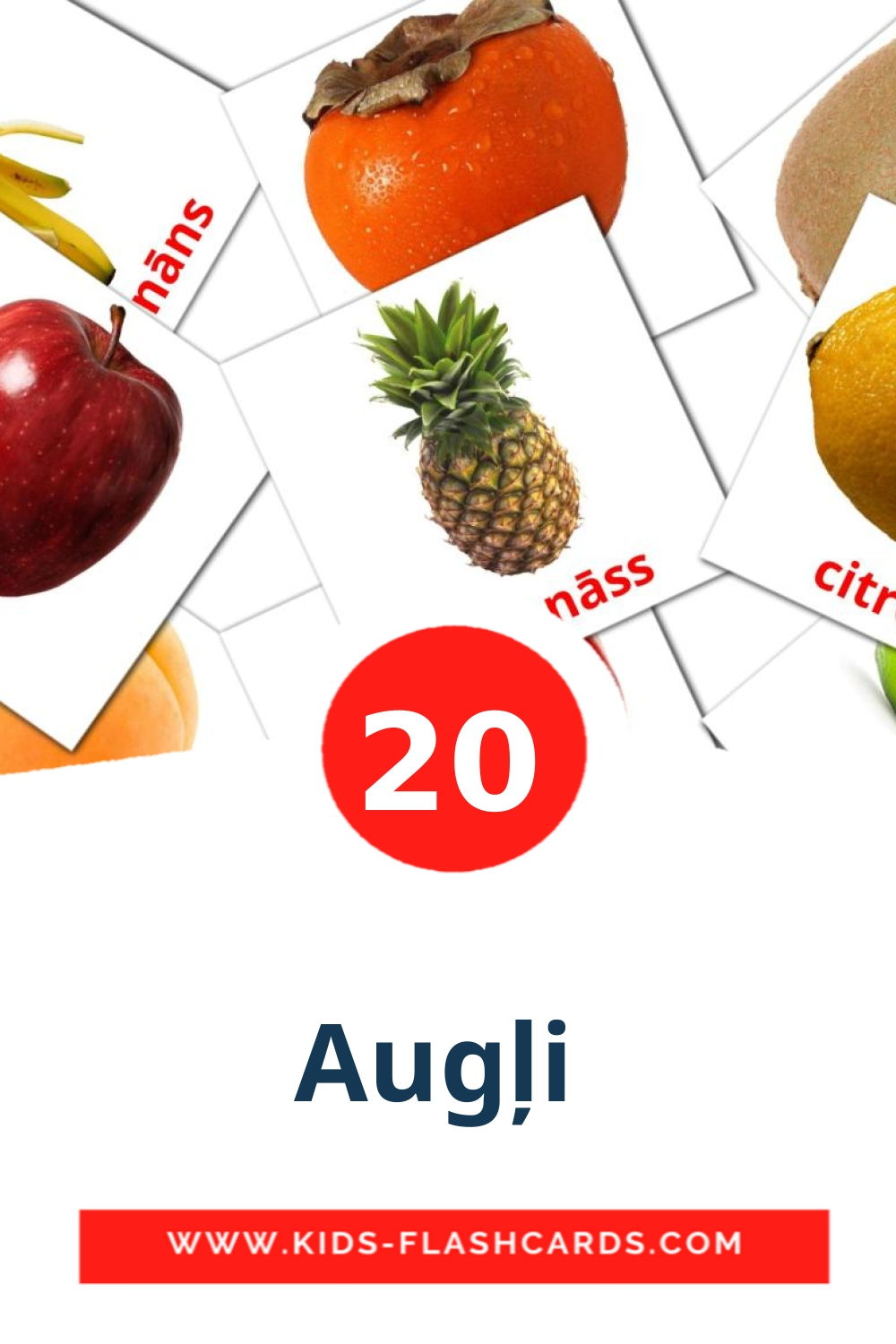 20 Augļi  Picture Cards for Kindergarden in latvian