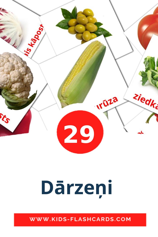29 Dārzeņi  Picture Cards for Kindergarden in latvian
