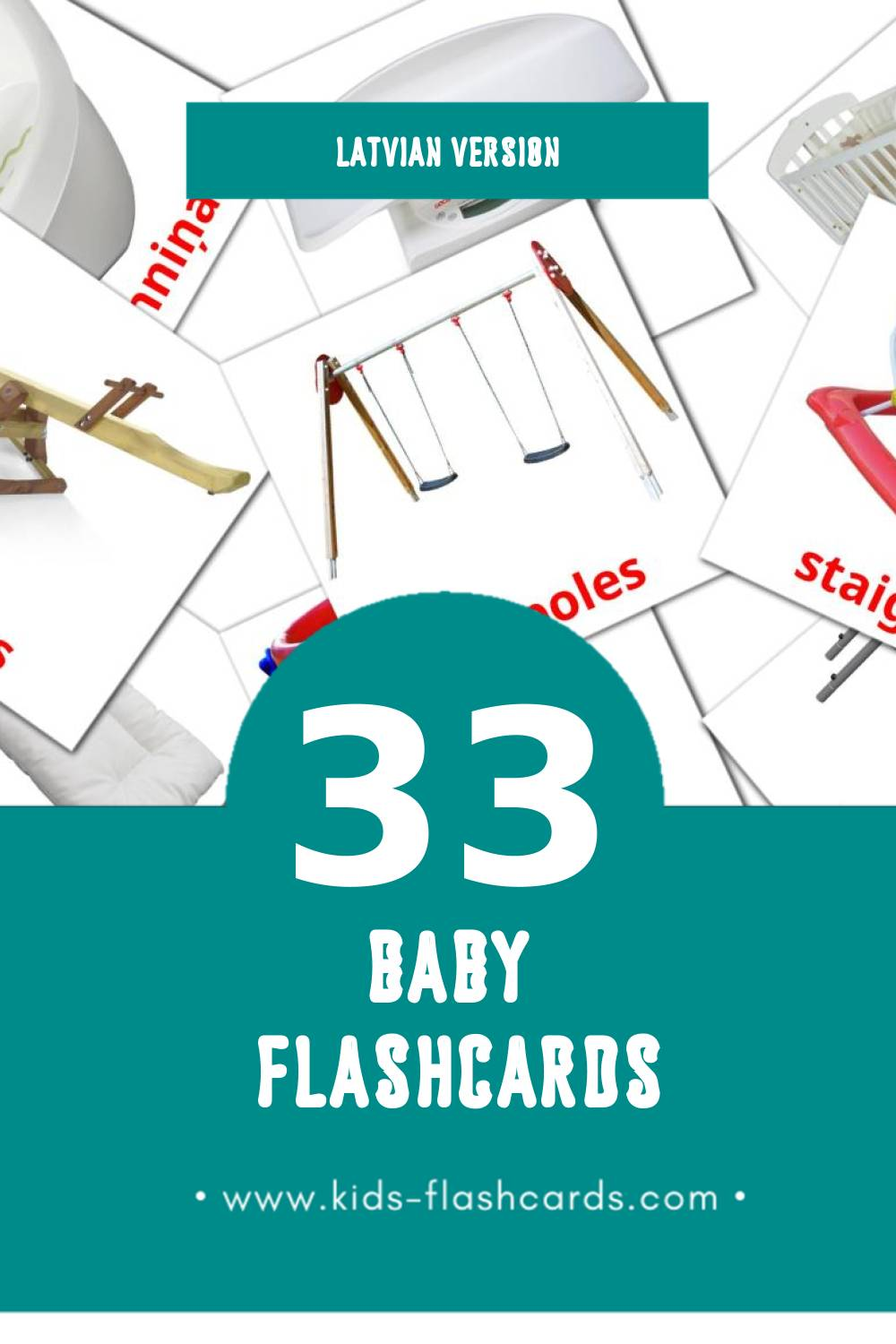 Visual Baby  Flashcards for Toddlers (20 cards in Latvian)
