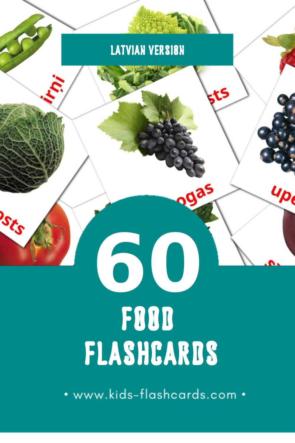 Visual Ēdiens Flashcards for Toddlers (60 cards in Latvian)