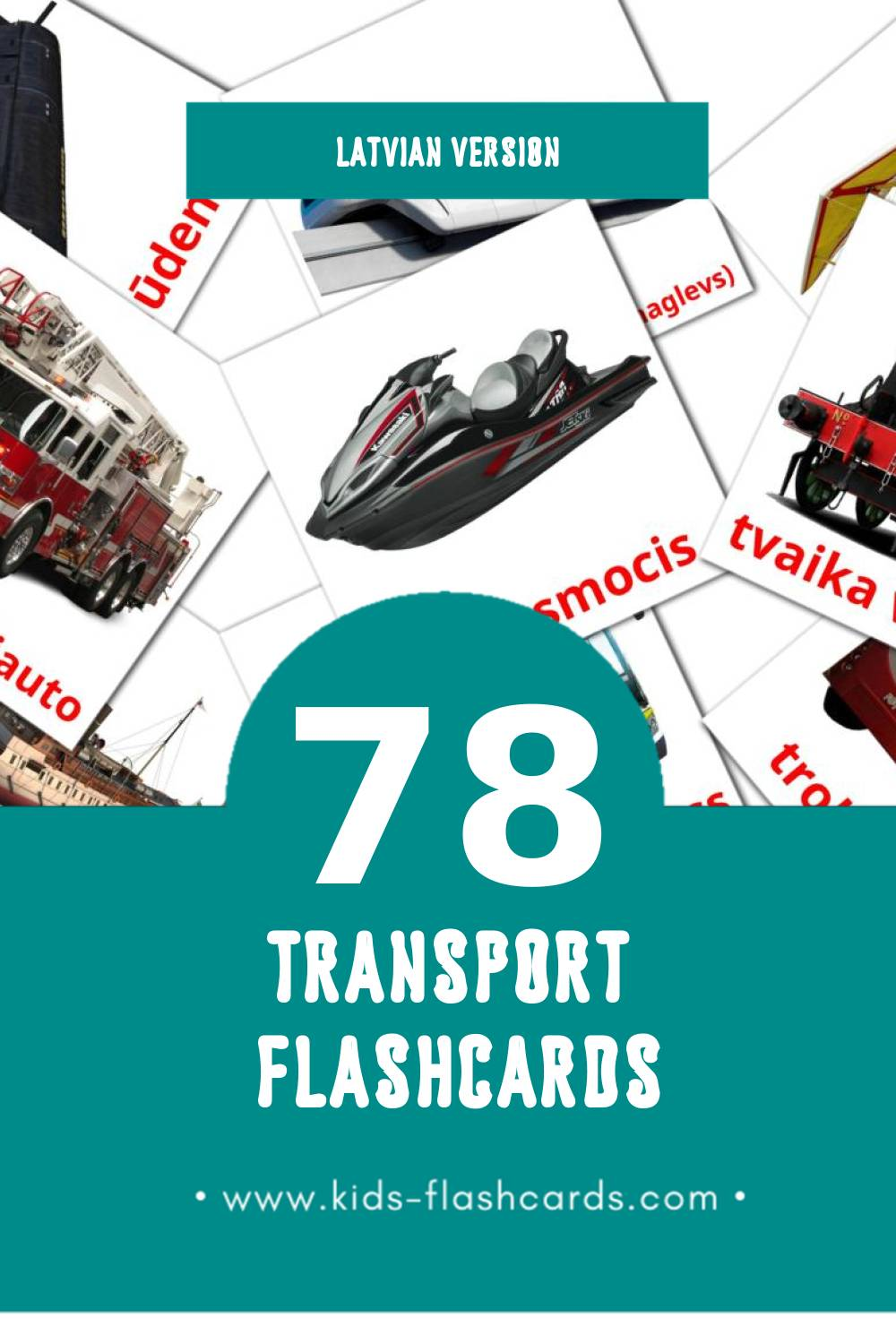 Visual Transports Flashcards for Toddlers (78 cards in Latvian)