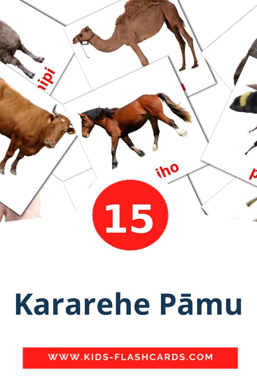15 Kararehe Pāmu Picture Cards for Kindergarden in maori