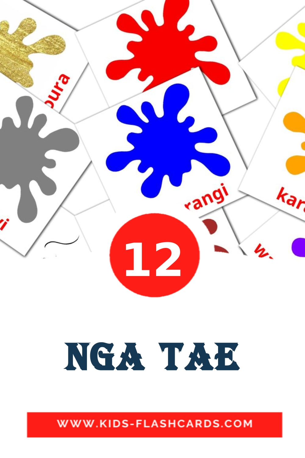 12 Nga tae Picture Cards for Kindergarden in maori