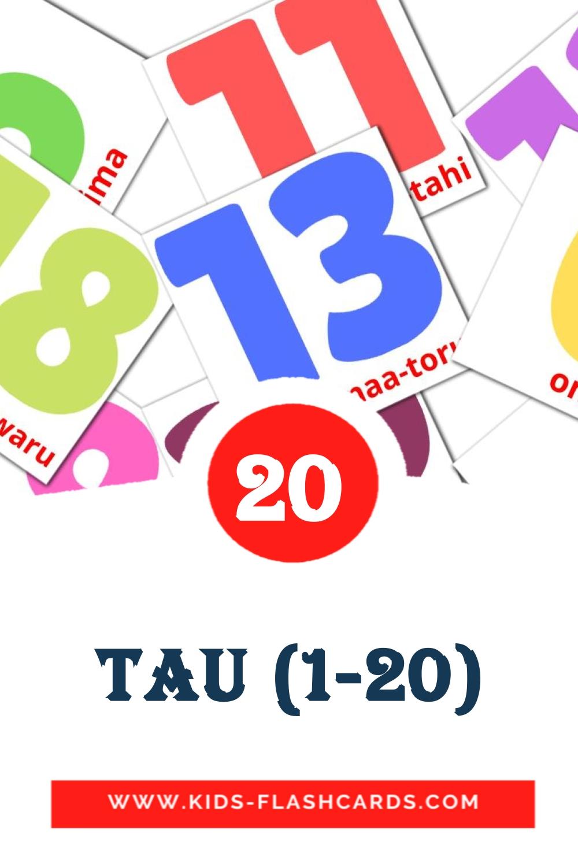 20 Tau (1-20) Picture Cards for Kindergarden in maori