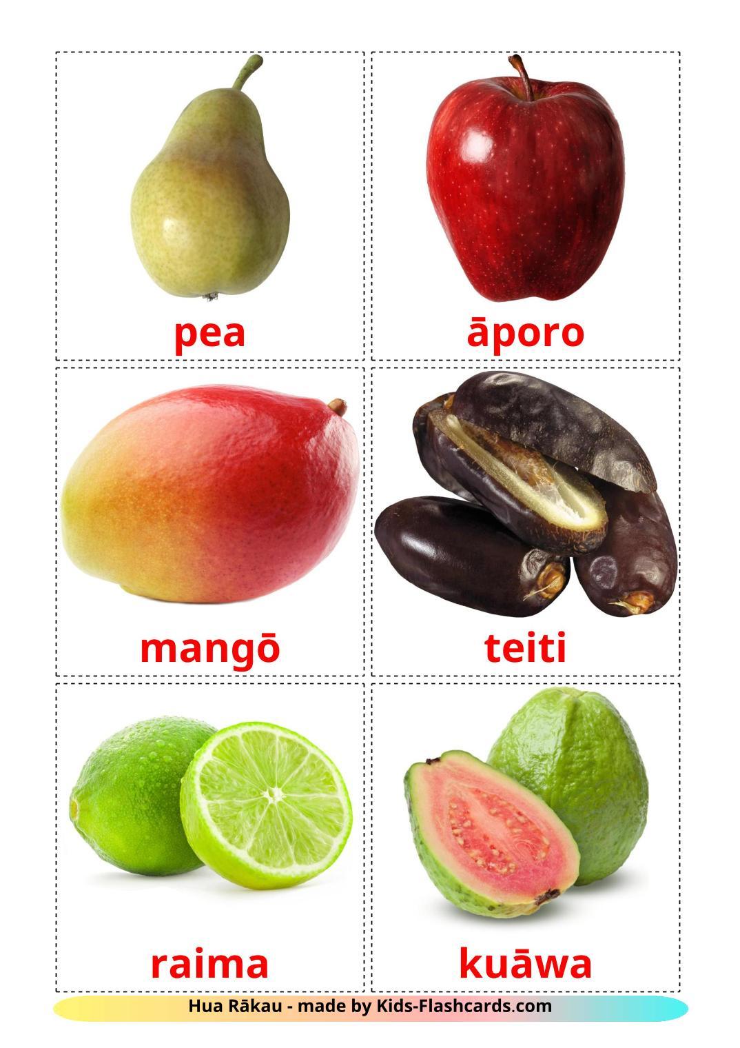 Fruits - 20 Free Printable maori Flashcards