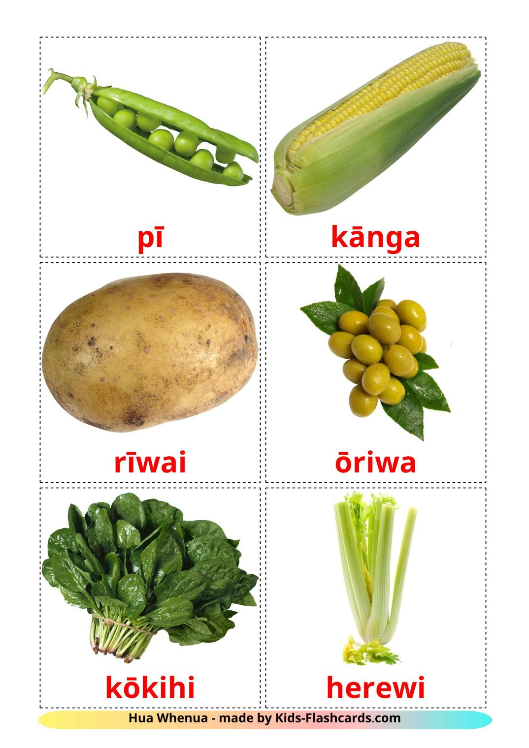 Vegetables - 29 Free Printable maori Flashcards