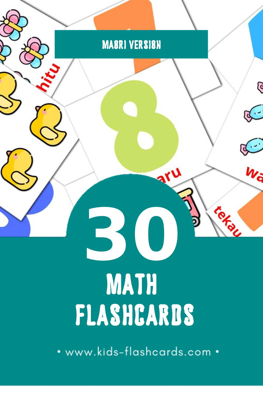Visual Pāngarau Flashcards for Toddlers (30 cards in Maori)