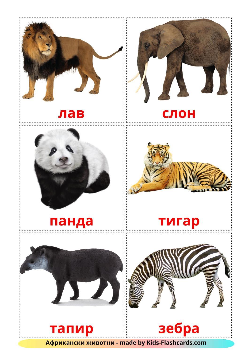 Jungle animals - 21 Free Printable macedonian Flashcards