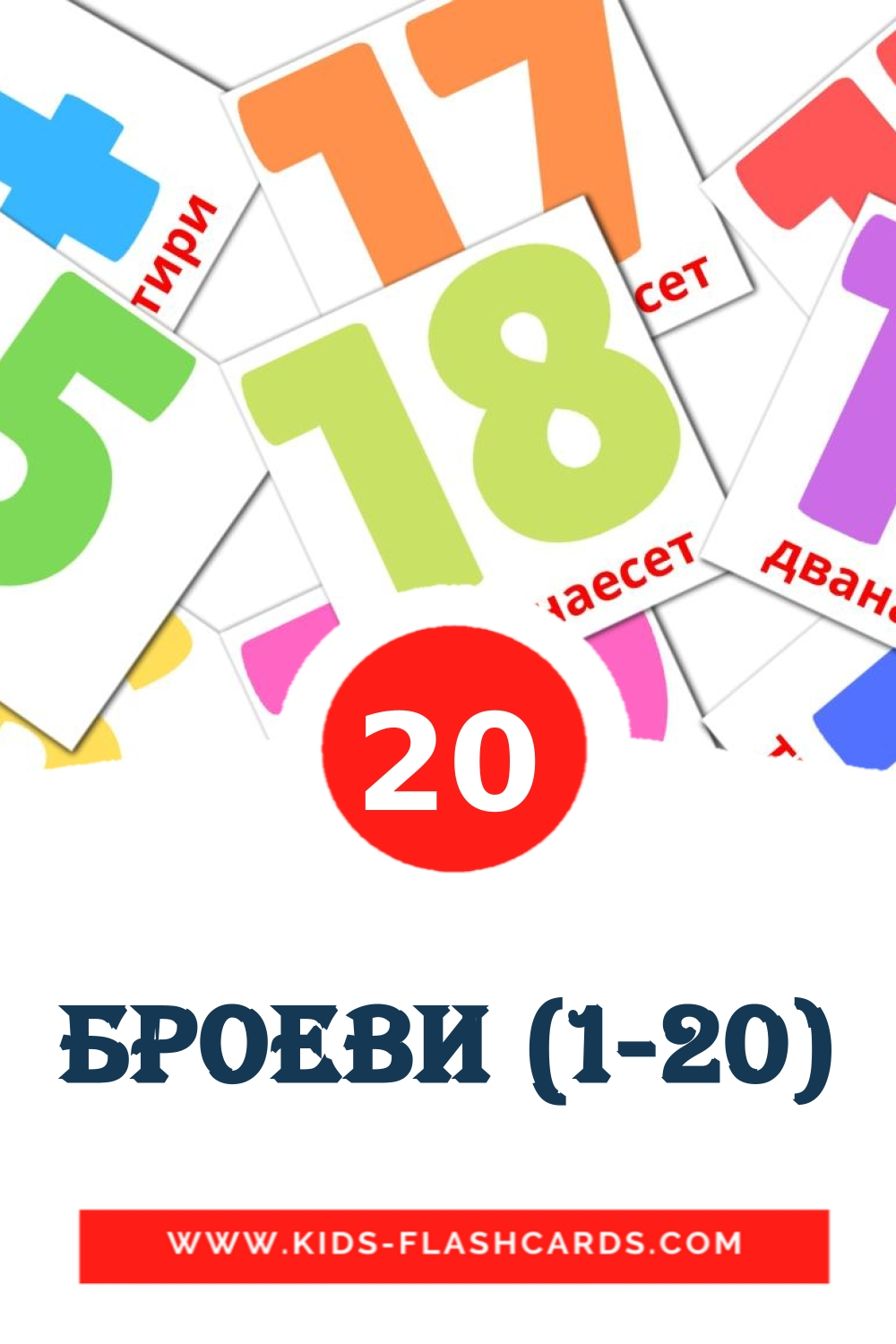 20 Броеви (1-20) Picture Cards for Kindergarden in macedonian
