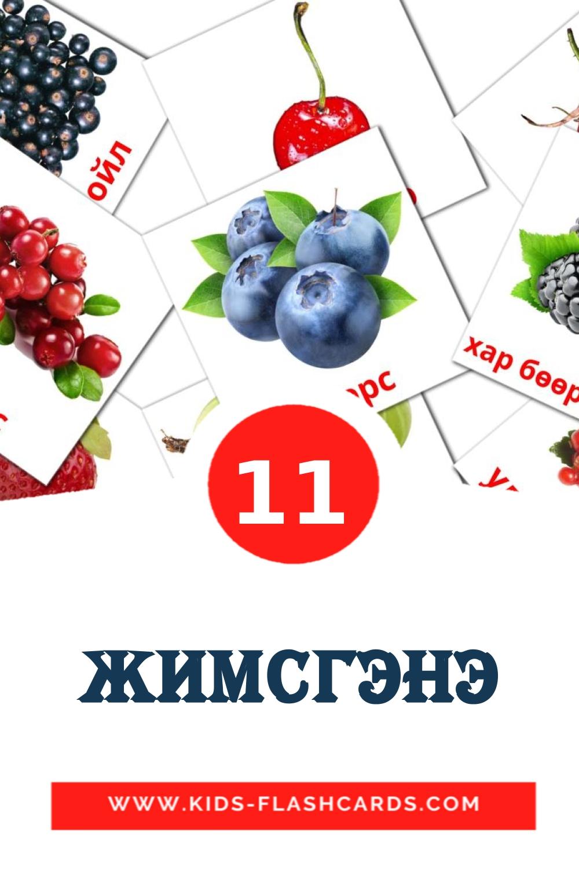11 Жимсгэнэ Picture Cards for Kindergarden in mongolian
