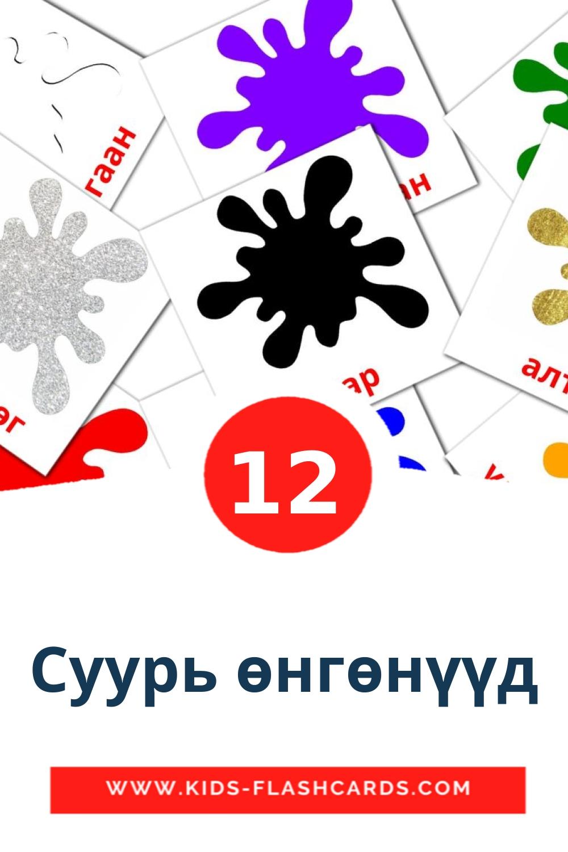 12 Суурь өнгөнүүд Picture Cards for Kindergarden in mongolian