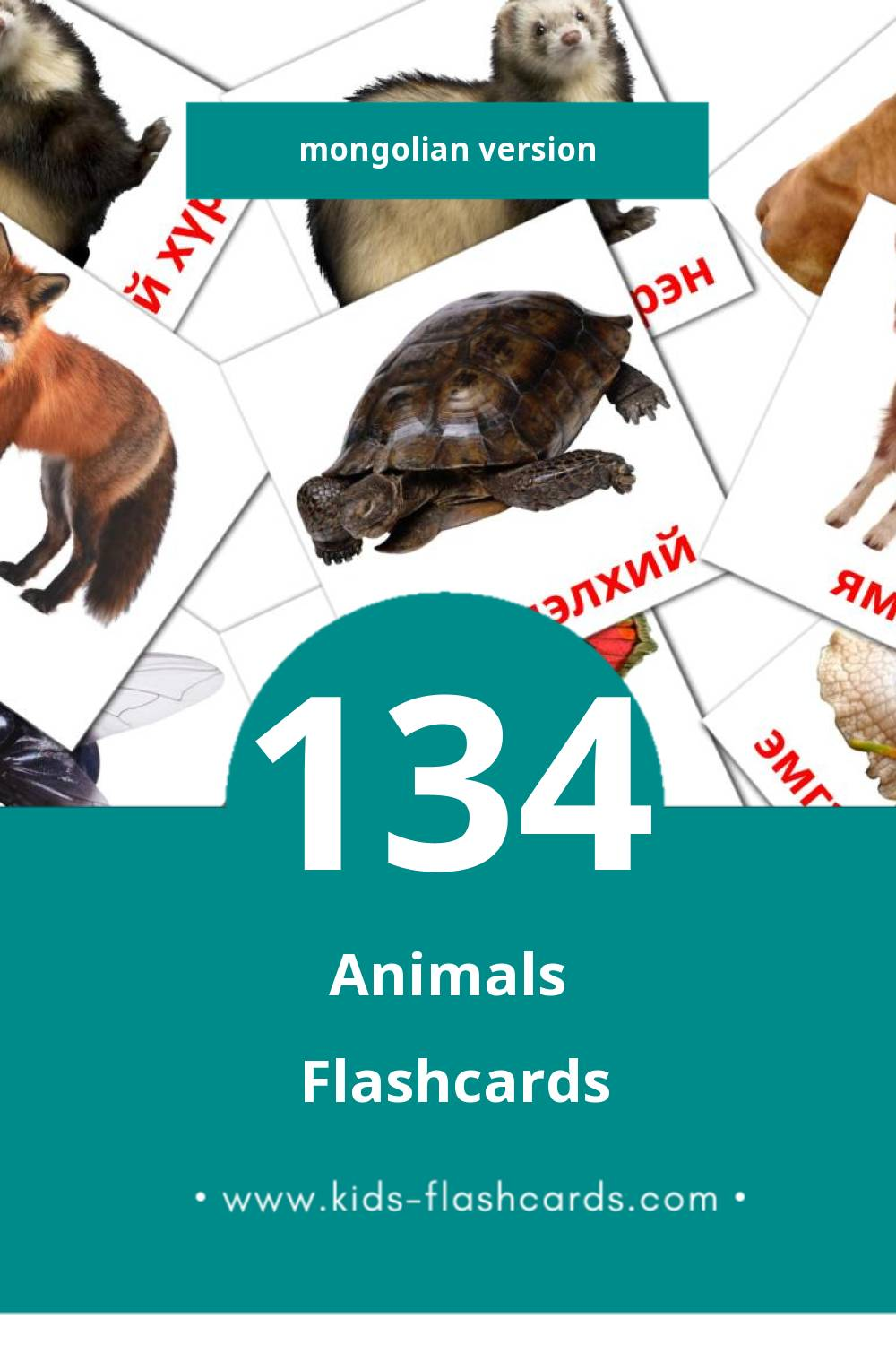Visual Амьтад Flashcards for Toddlers (134 cards in Mongolian)
