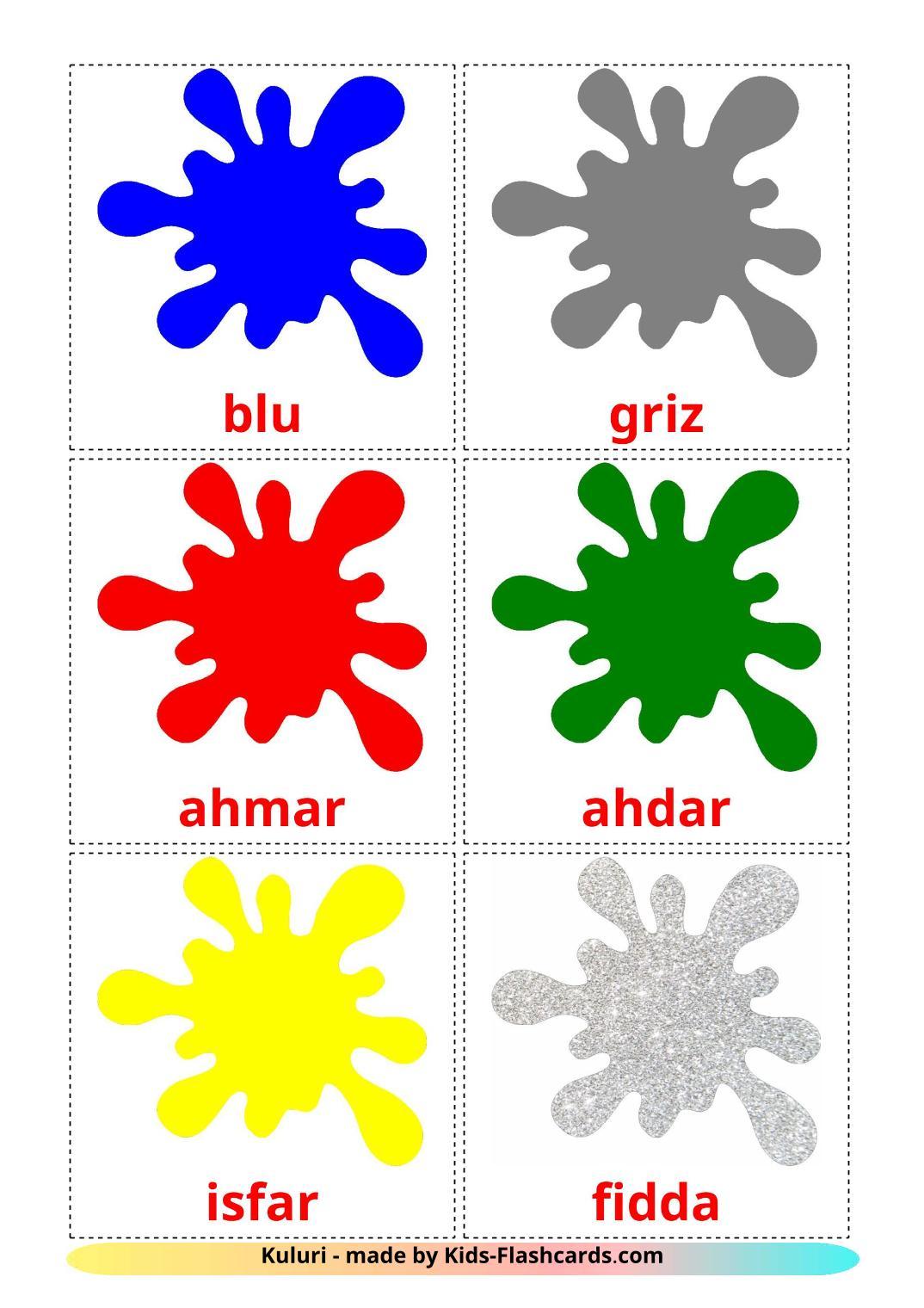 Base colors - 12 Free Printable maltese Flashcards
