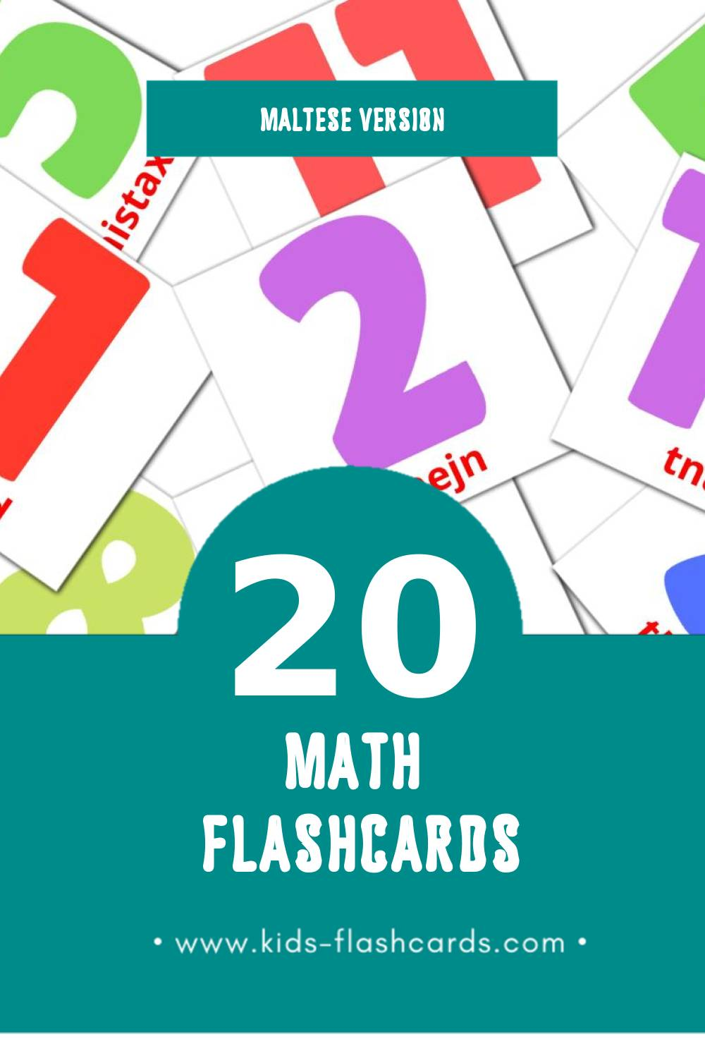 Visual Matematika Flashcards for Toddlers (20 cards in Maltese)