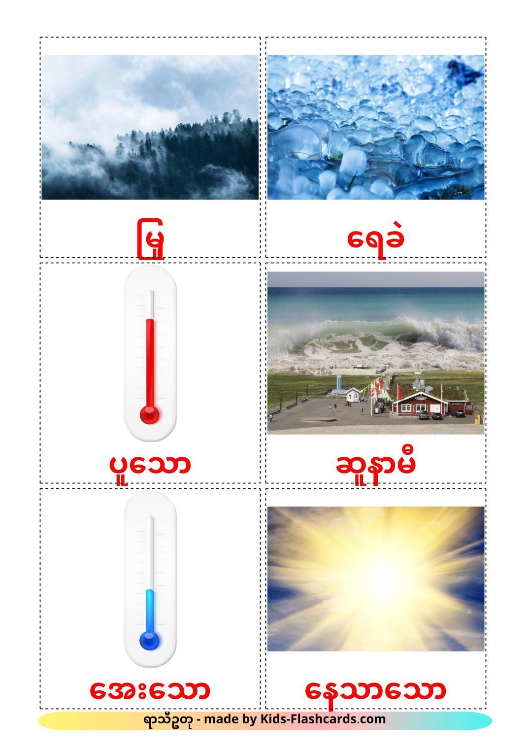 Weather - 31 Free Printable burmese Flashcards