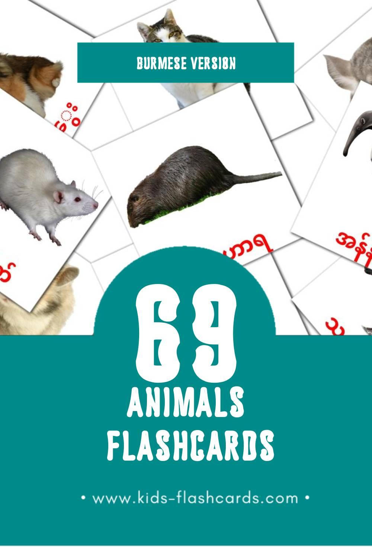 Visual တိရစ္ဆာန်များ Flashcards for Toddlers (31 cards in Burmese)