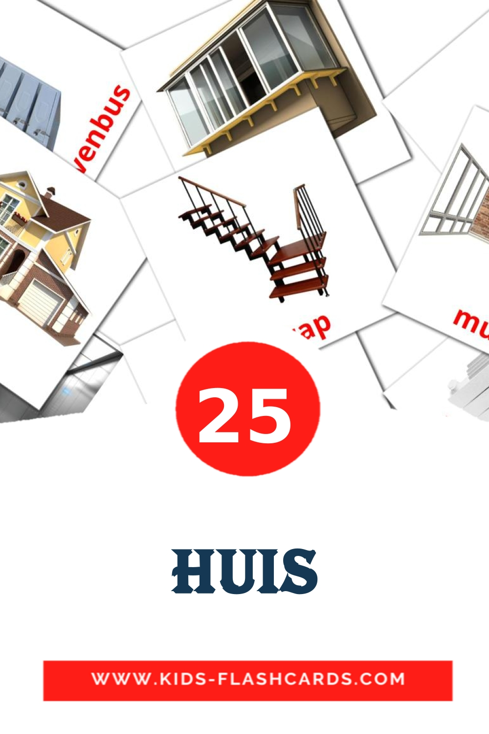 25 Huis Picture Cards for Kindergarden in dutch
