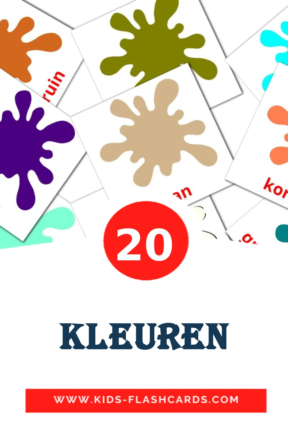 20 kleuren Picture Cards for Kindergarden in dutch