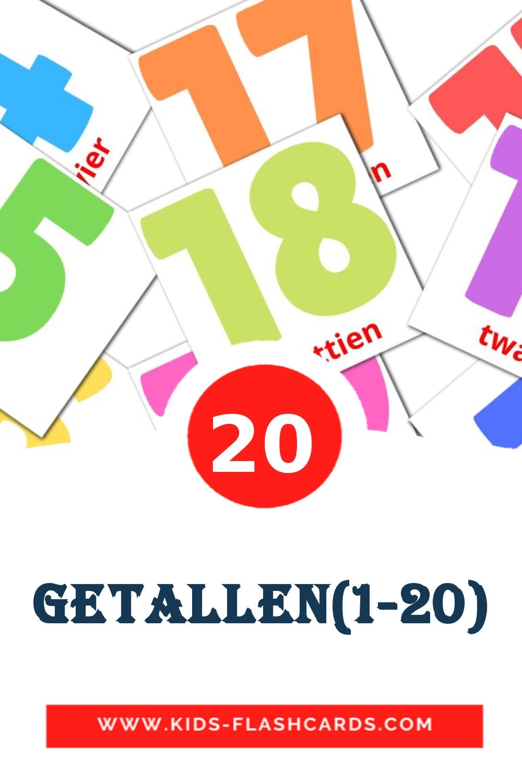 20 Getallen(1-20) Picture Cards for Kindergarden in dutch