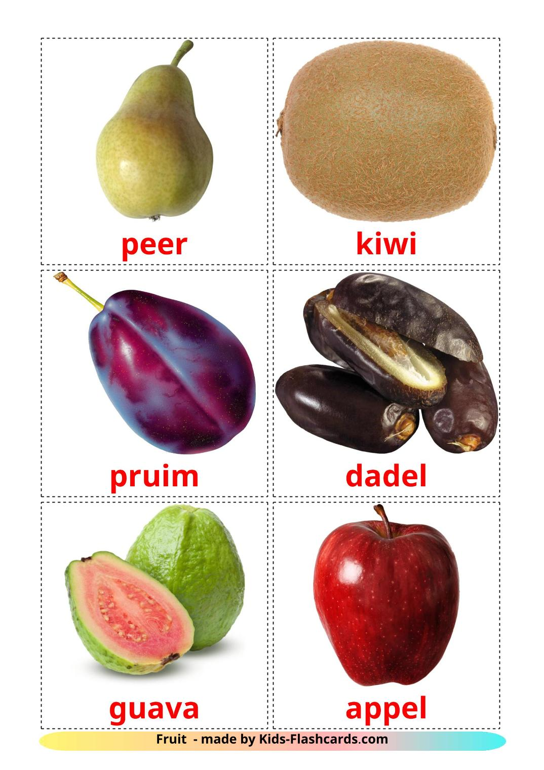 Fruits - 20 Free Printable dutch Flashcards