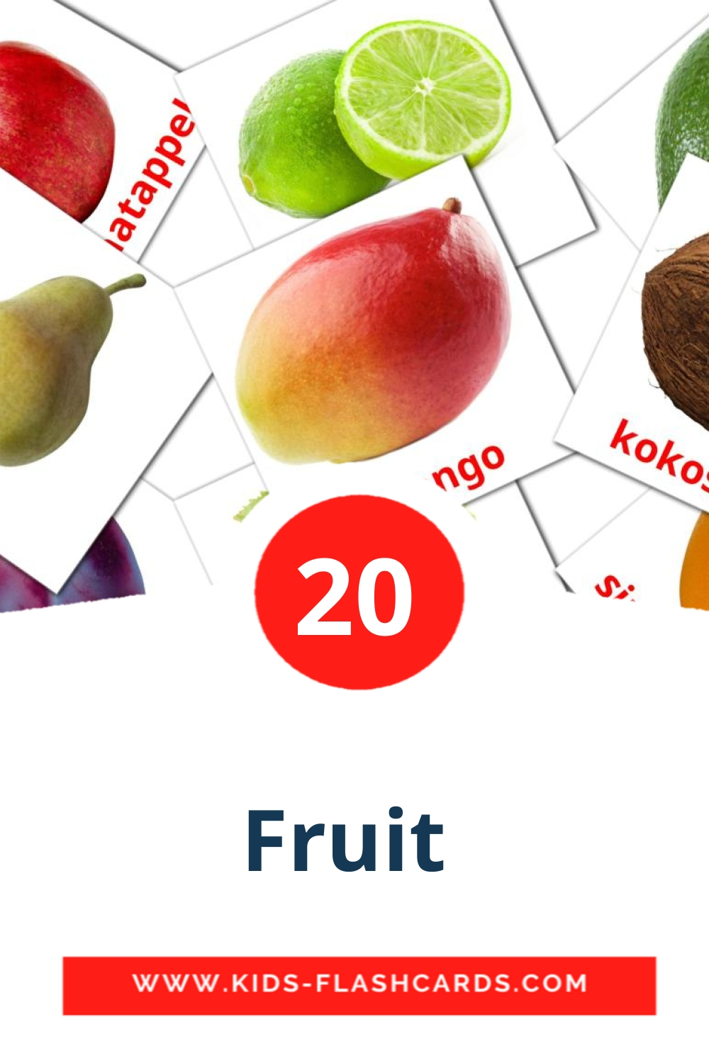 20 Fruit  Picture Cards for Kindergarden in dutch