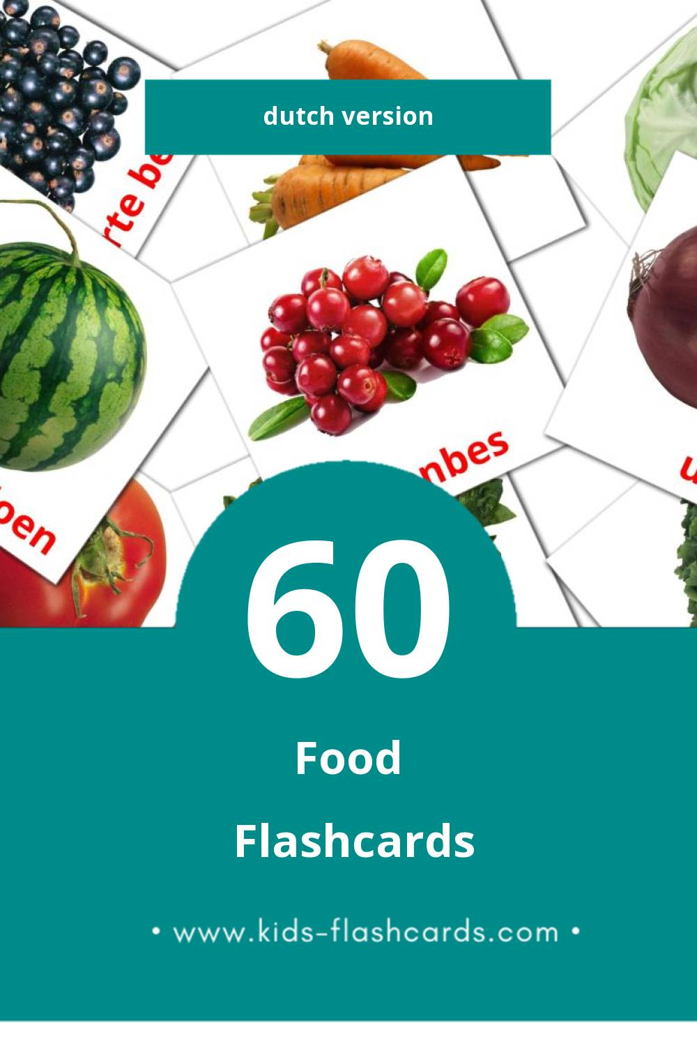 Visual Eten Flashcards for Toddlers (49 cards in Dutch)