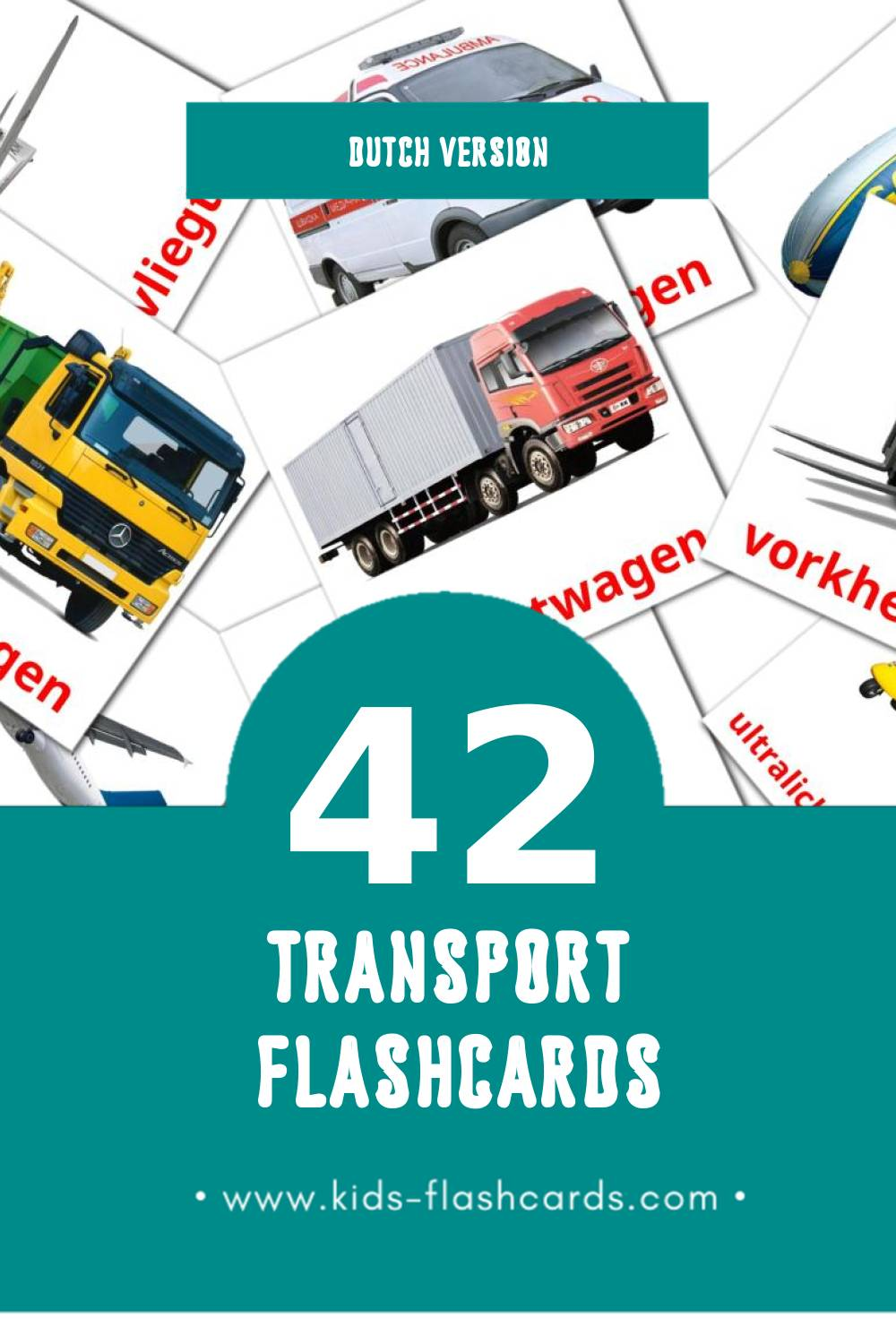 Visual Vervoer Flashcards for Toddlers (42 cards in Dutch)