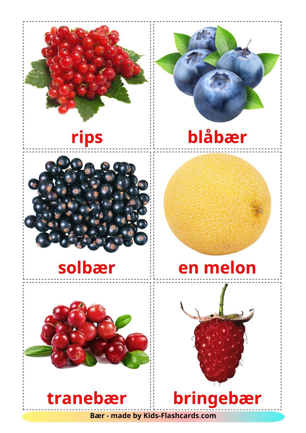 Berries - 11 Free Printable norwegian Flashcards