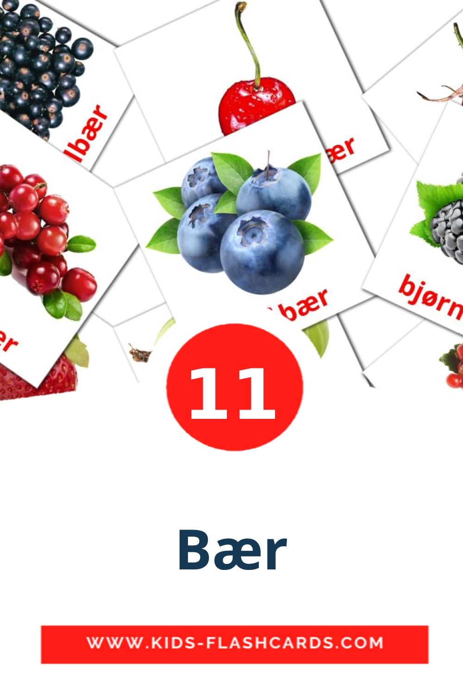 11 Bær Picture Cards for Kindergarden in norwegian